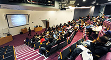 Inside large lecture theatre