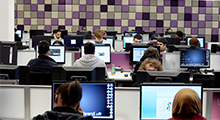 Students at computers inside LRC